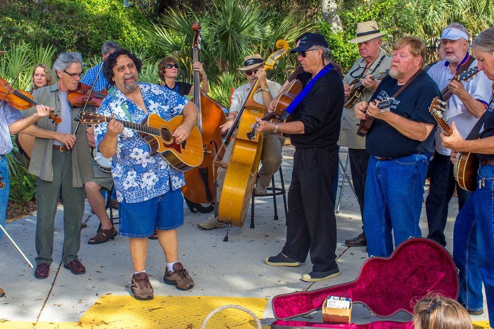 Music at the farmers market on Saturday mornings at the St. Augustine Amphitheatre grounds