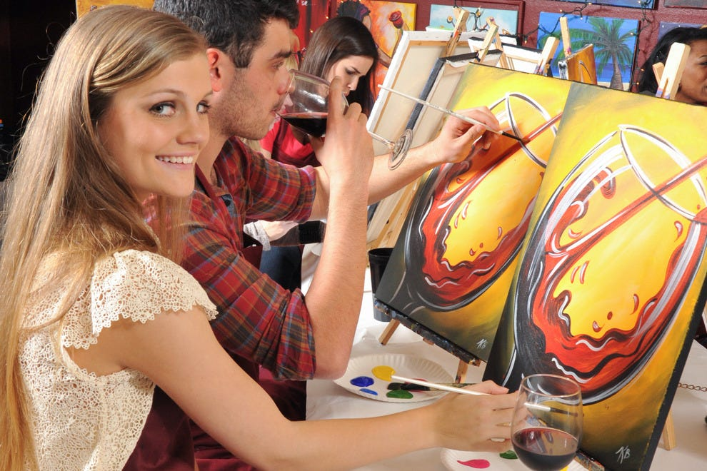 Follow along as the instructor leads an interactive painting class at Painting with a Twist
