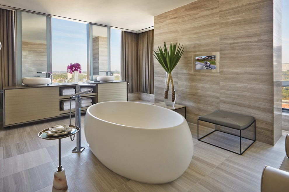 This is the presidential suite, but bathtubs this magnificent can be had in every room