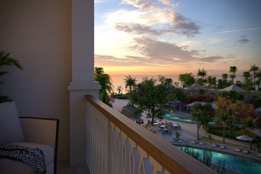 俯瞰海洋和巴哈马尔的玫瑰木度假村