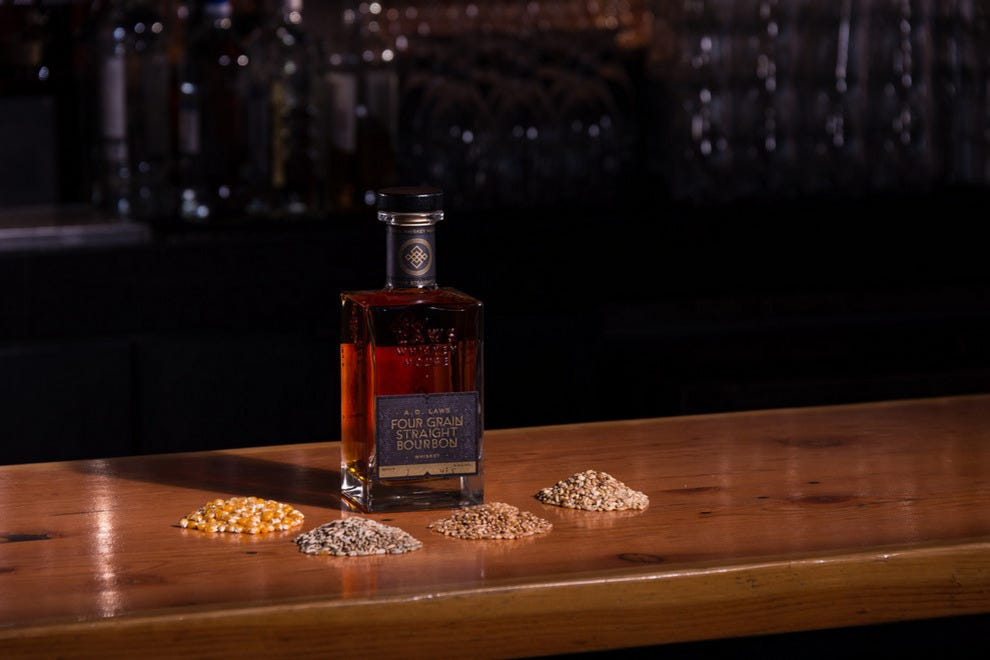 The four grains used in Laws' whiskey are wheat, barley, rye and corn