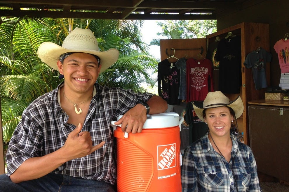 Vance and Stephanie of Princeville Ranch Adventures prepare to lead a tour