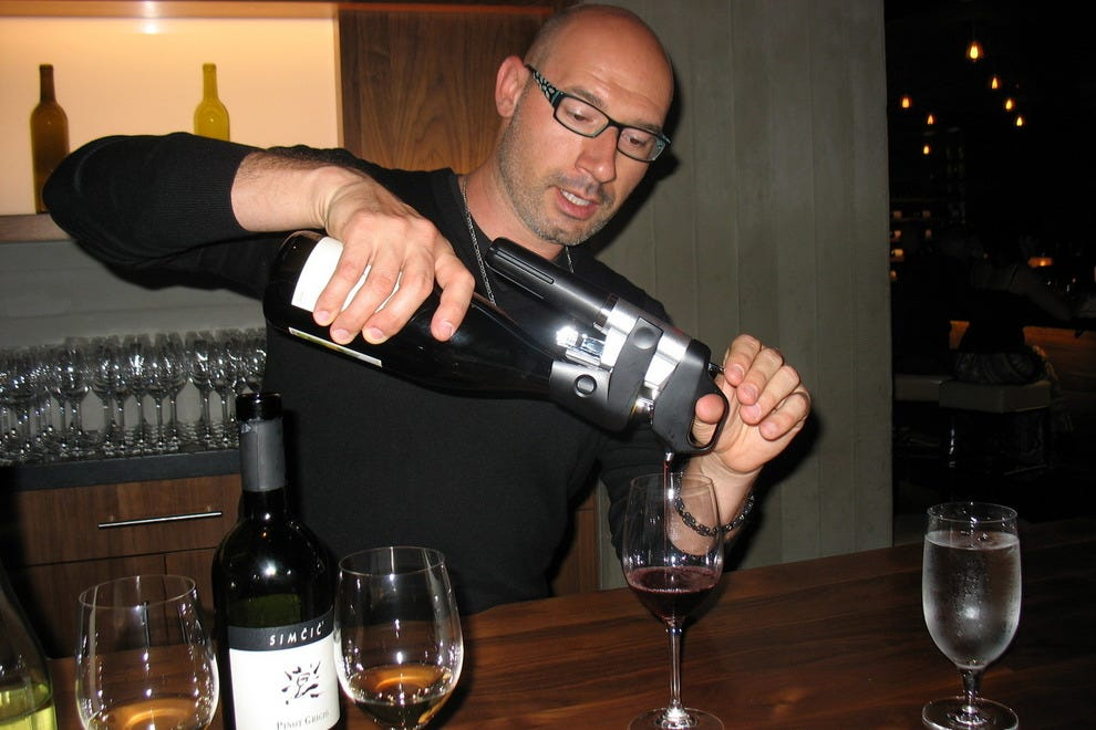 Sommelier Mauro Cirilli pours his best