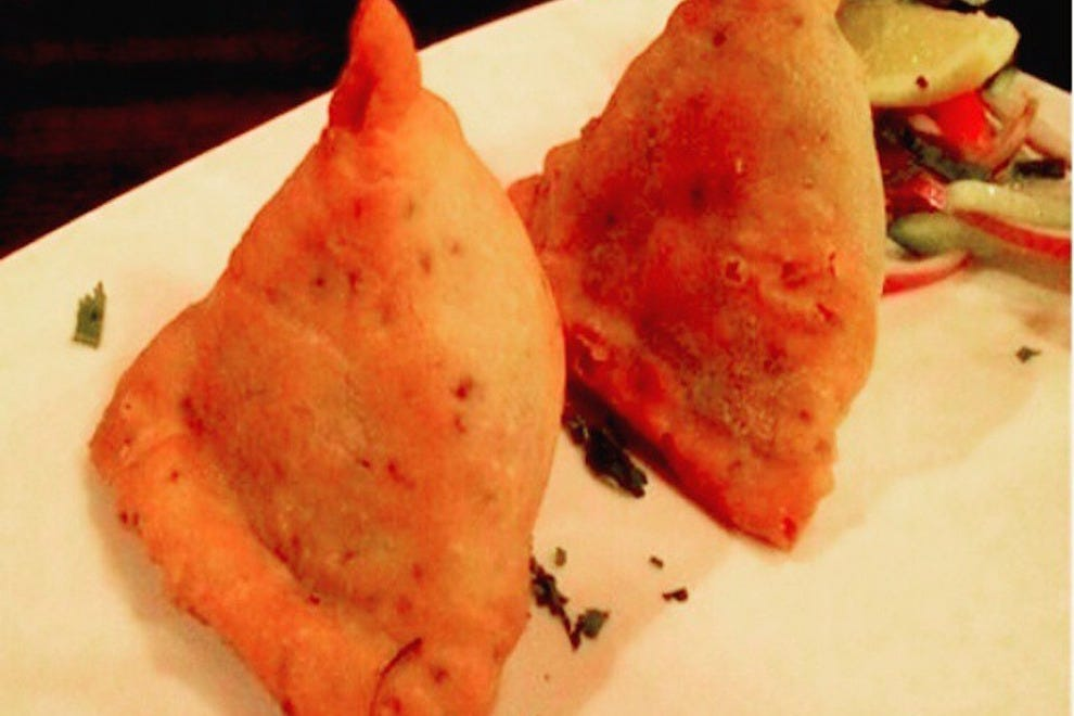 Vegetable samosas at Mint Leaf Restaurant