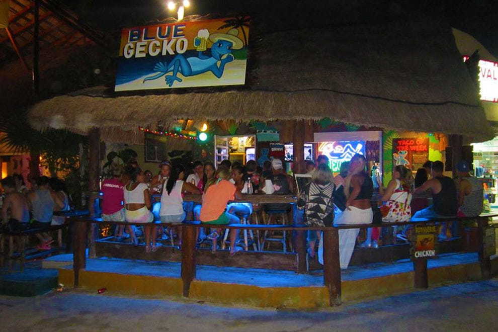 Look for the palapa roof and the neon sign, and you'll end up at Blue Gecko Cantina