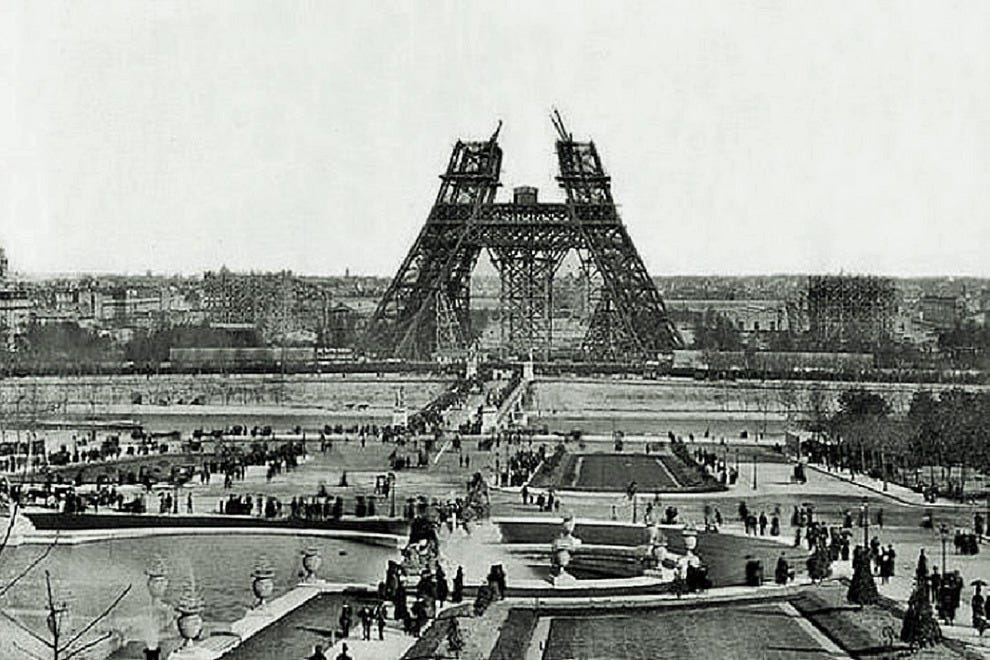 Construction of the Eiffel Tower's first level, spring 1888