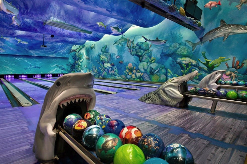 The ocean-themed bowling alley is a hit with locals