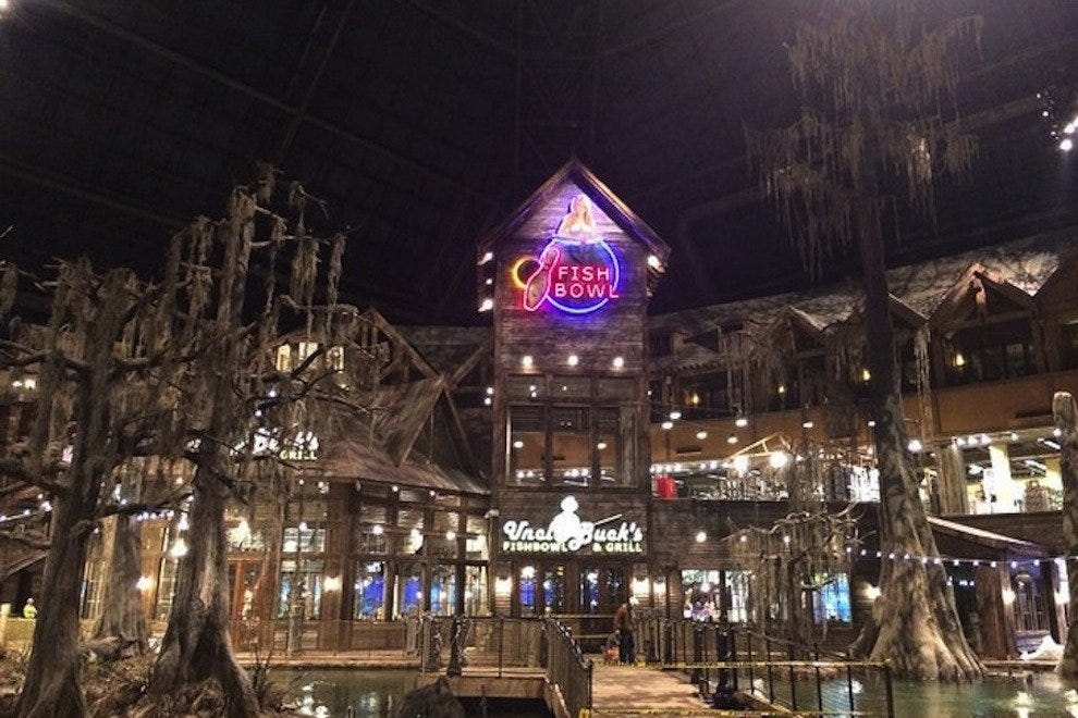 The interior of Bass Pro includes multiple retail and recreation areas