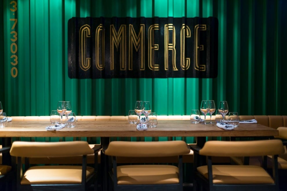 The table's set at Commerce Gastrobar