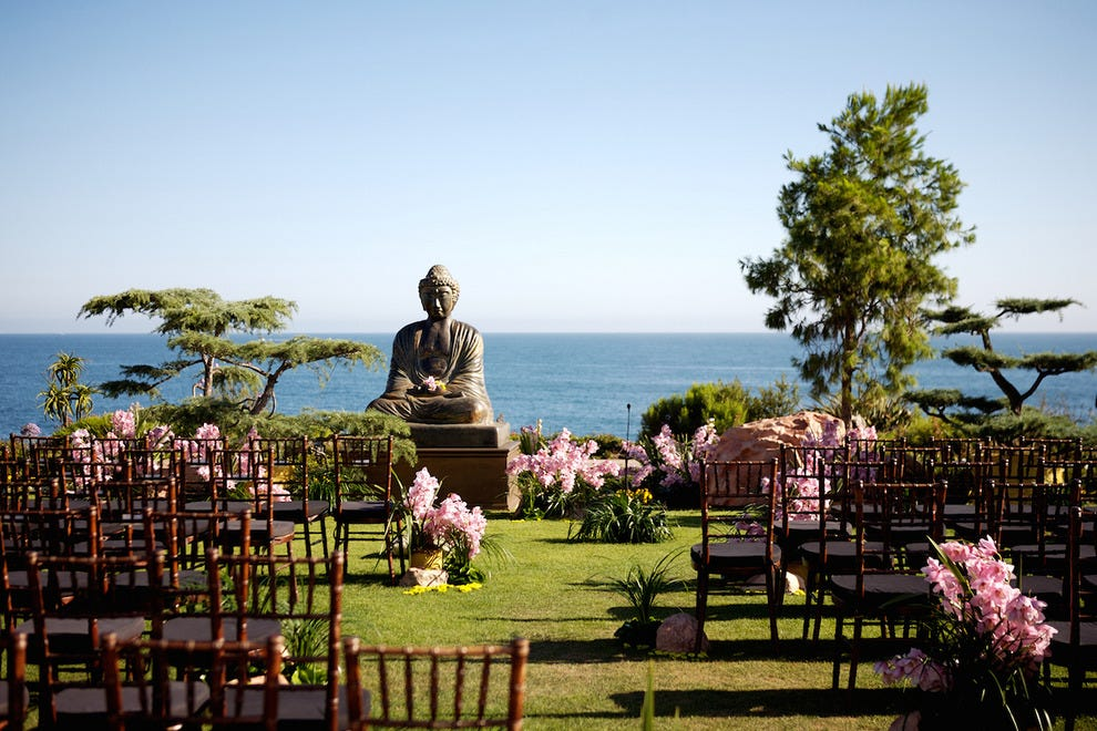 A chic ceremony setup at the Pacific Lawn at Montage Laguna Beach.