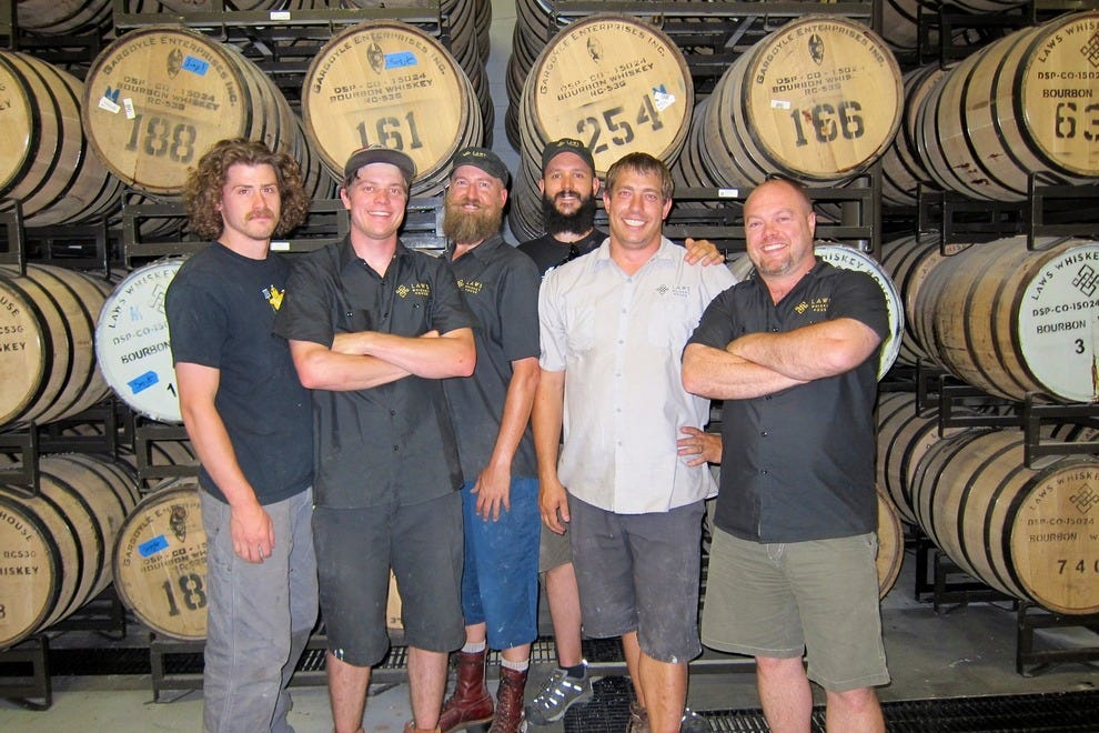 The hard-working whiskey makers at Laws, left to right: Sam Poirier, Stephen Julander, Jason Mann, James Kunz, Alex Alexander and head distillerJake Norris.