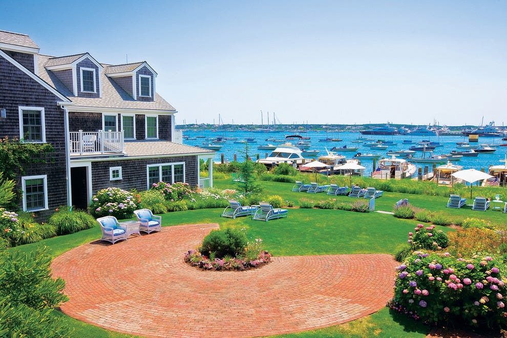 A view of the lawn and harbor at White Elephant
