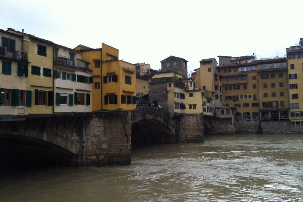 A view of the Ponte Vecchio from behind