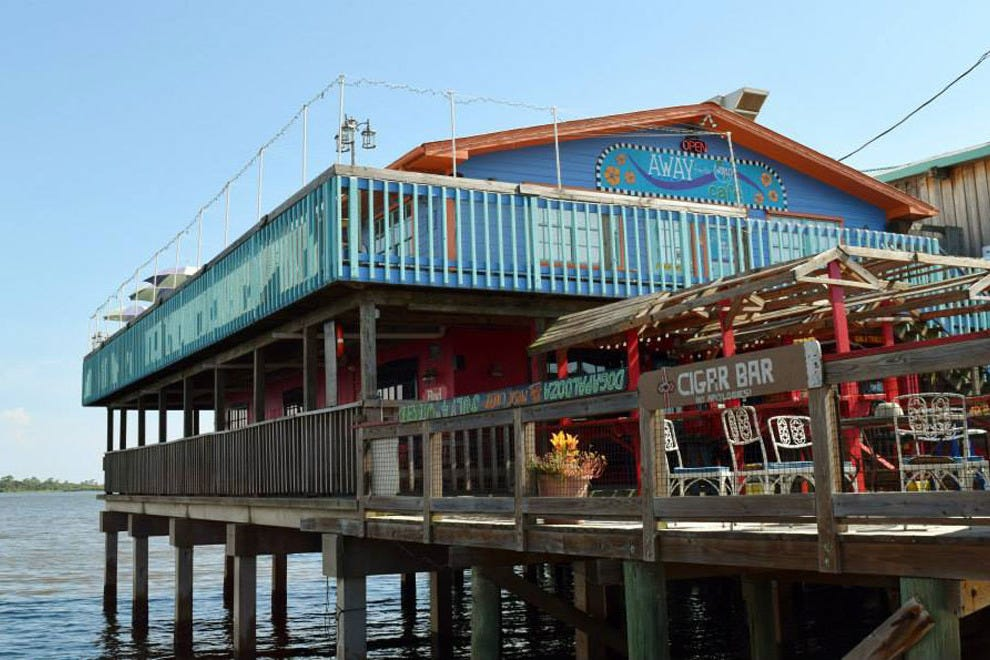 Colorful Dock Street features several bars and restaurants with spectacular Gulf views
