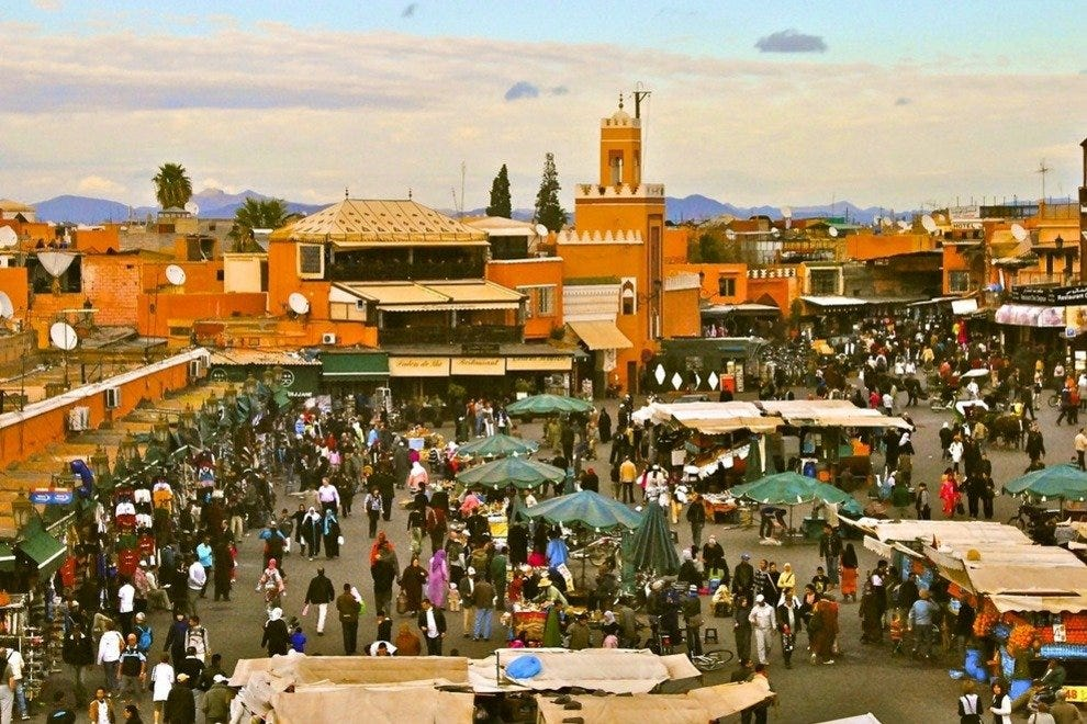 Jemaa el-Fna square is a Marrakech must, if only to buy fresh-squeezed orange juice and watch crazy acts drawing crowds.