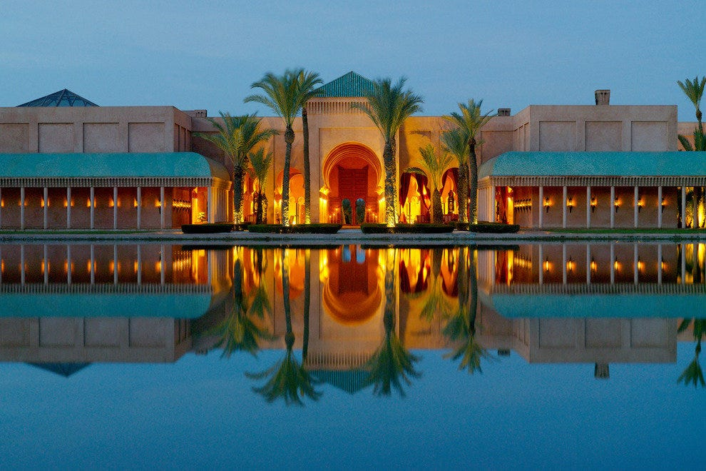 Amanjena Resort uses local materials and Moroccan themes in its luxury resort in Marrakech.