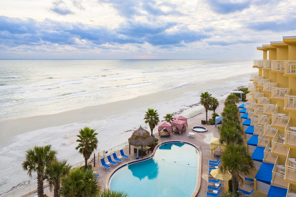 The Shores sits five miles south of Daytona Beach on a quiet, largely residential stretch of beach