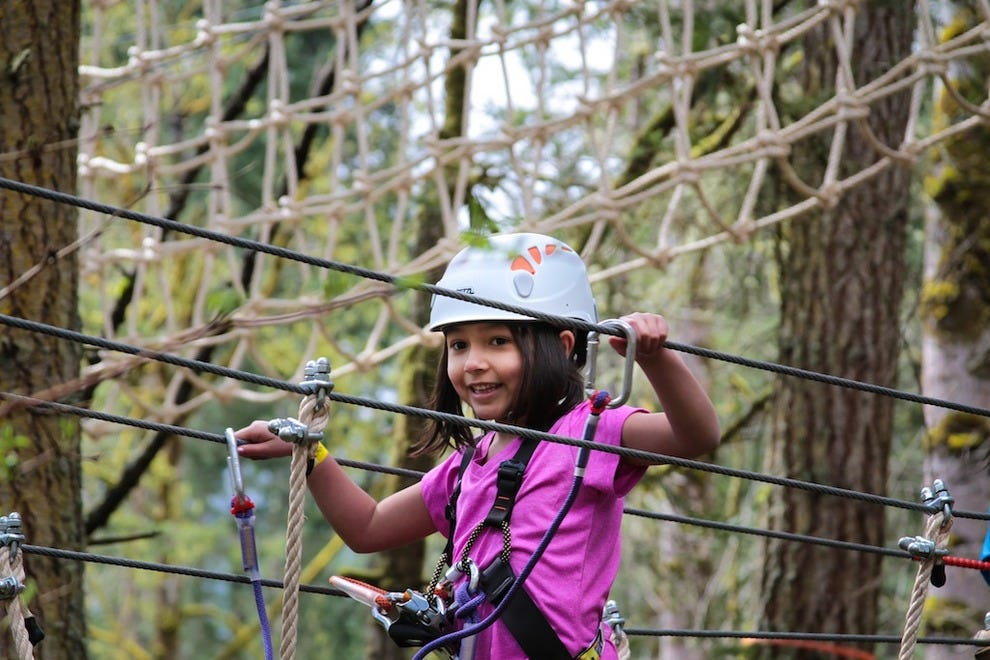 Visitors find five exhilarating zip line and challenge courses up in the trees
