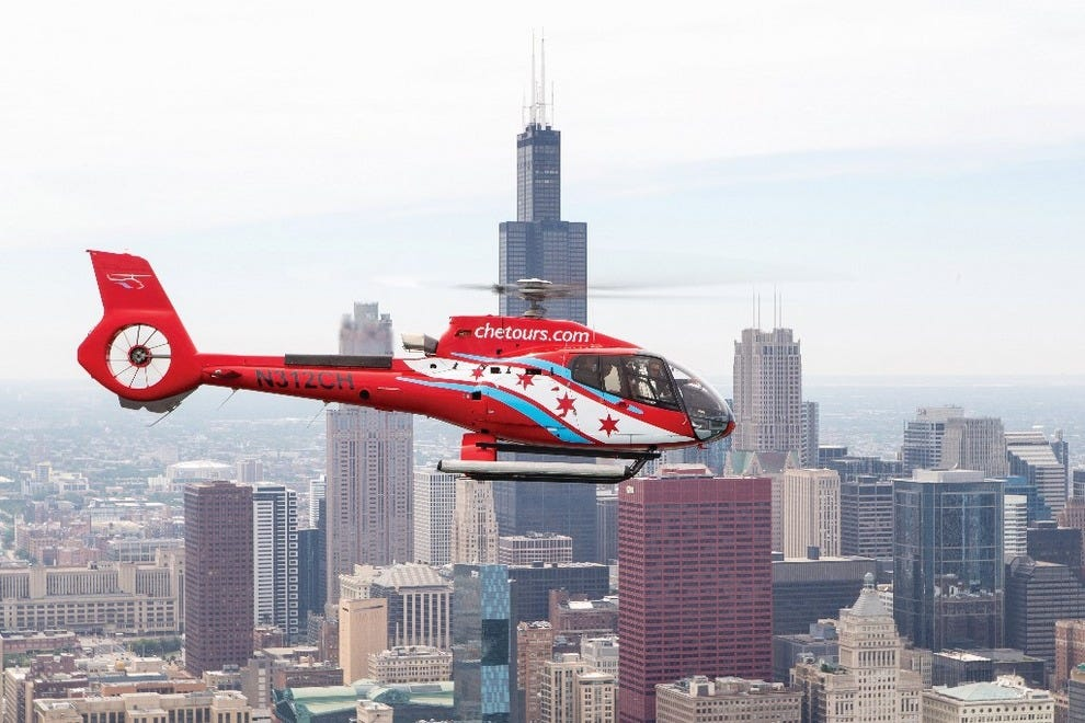 Take a helicopter tour of Chicago
