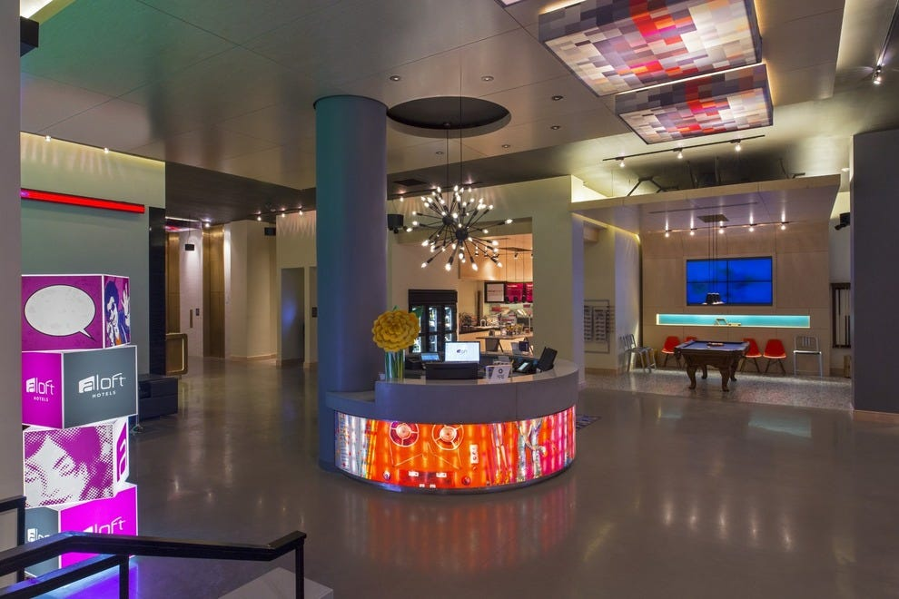 Aloft New Orleans Downtown features a striking lobby design