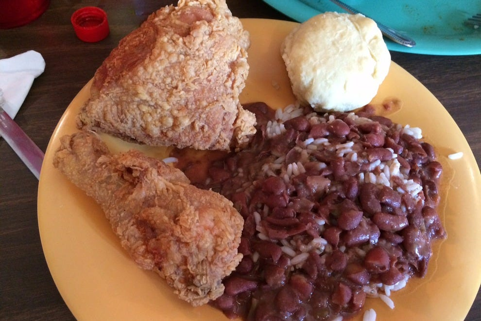Fried chicken and red beans and rice, just perfect at Rita Mae's