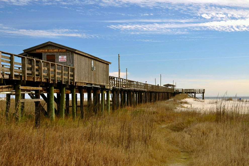 Dauphin fishing pier reaches into Mobile Bay