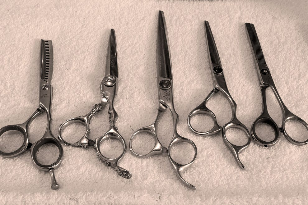 Tools of the trade: some of the many different types of scissors used by the barbers at Figaro's