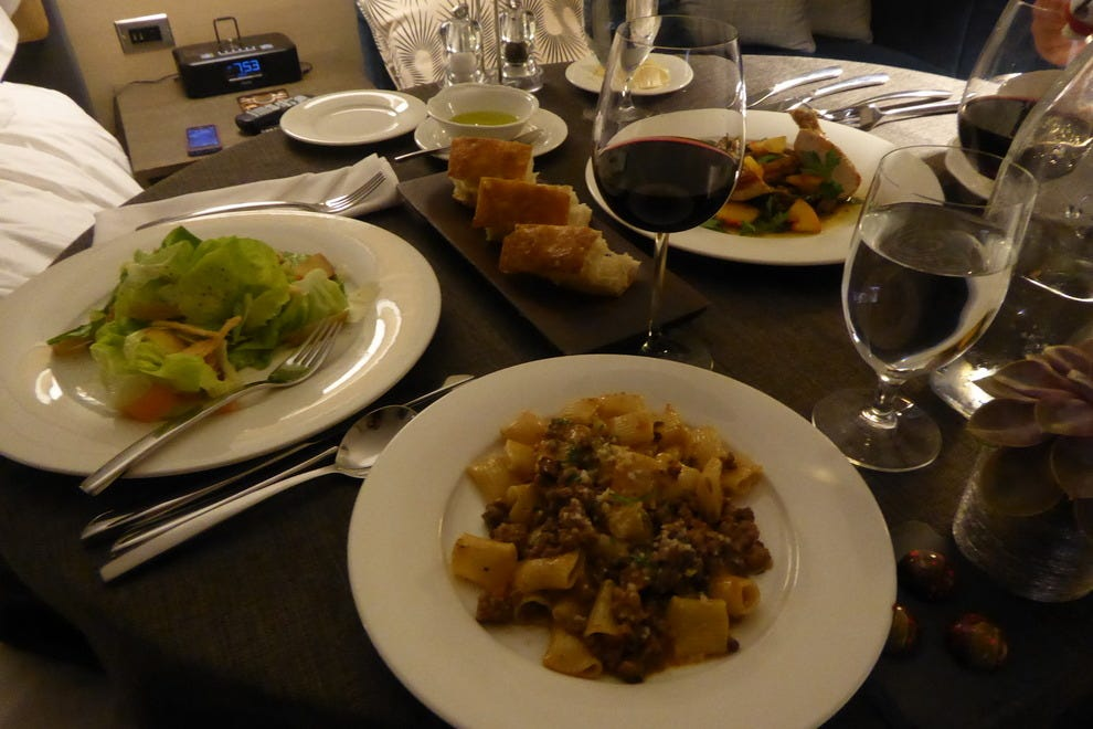 Fresh salad and rigatoni are on the in-room dining menu at Thompson Chicago