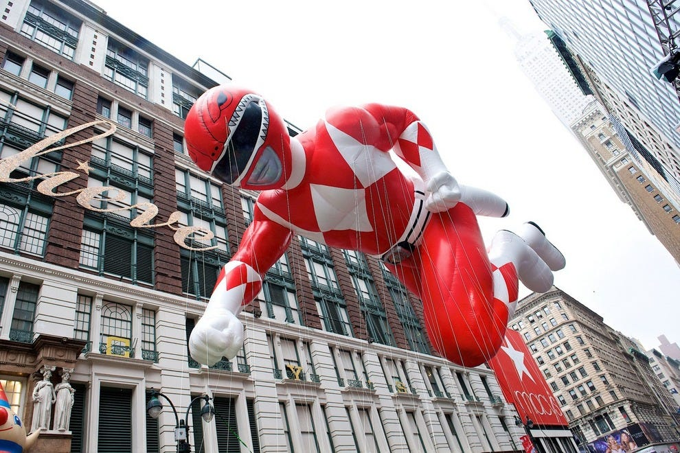 Red Mighty Morphin Power Ranger in the Macy's Thanksgiving Day Parade