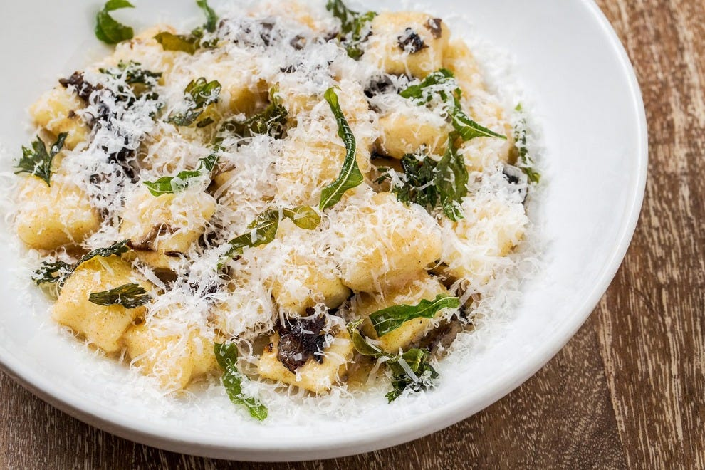 Balena's potato gnocchi with mushrooms and brown butter