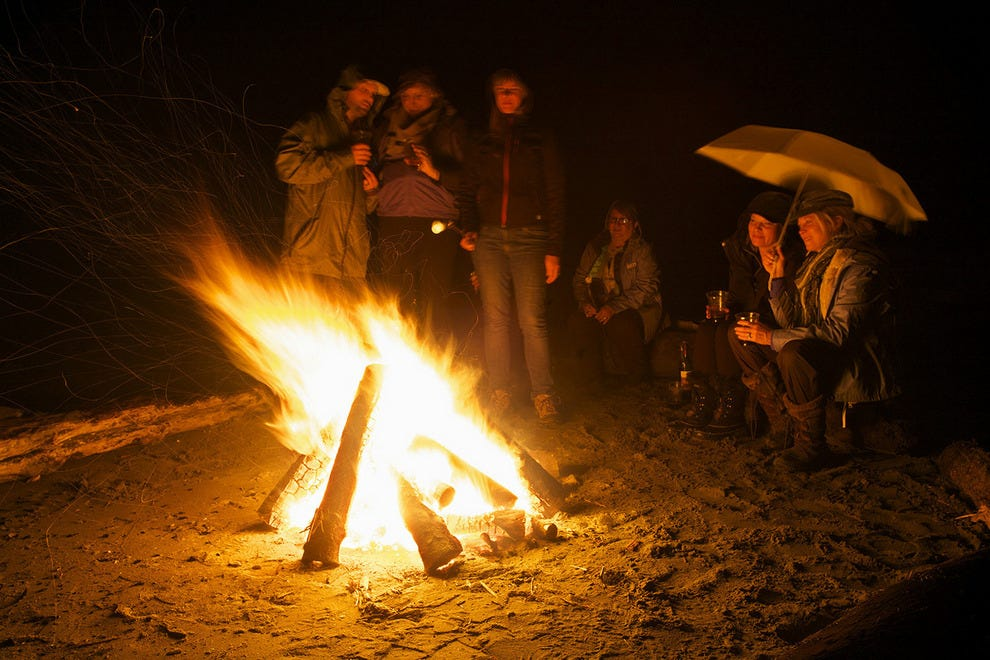 A rainy beach bonfire at Washington's Kalaloch Lodge