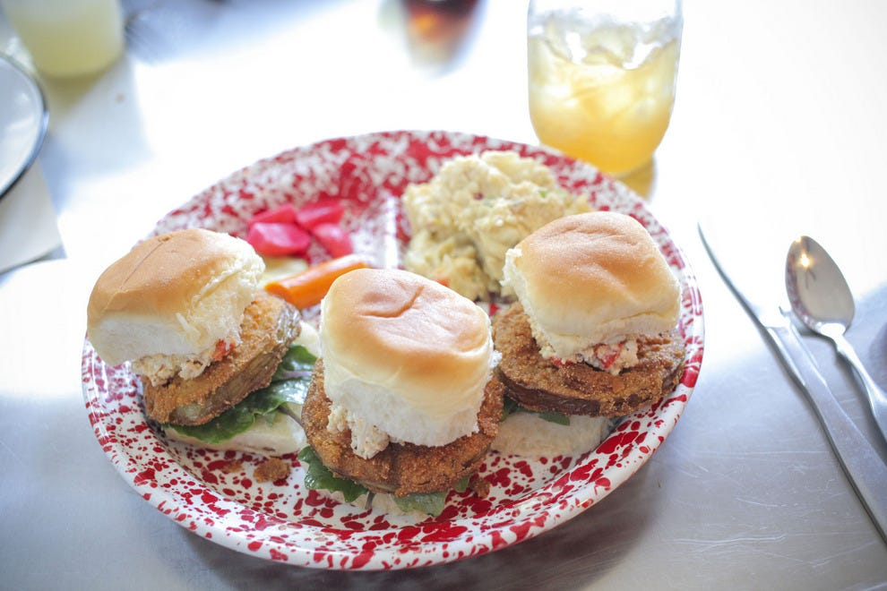 Gilbert's Underground Kitchen's menu is full of classic favorites reimagined, like these Fried Green Tomato Sandwiches
