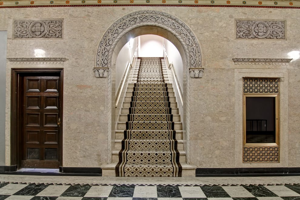 Grand stairway in the former Cincinnati Enquirer building