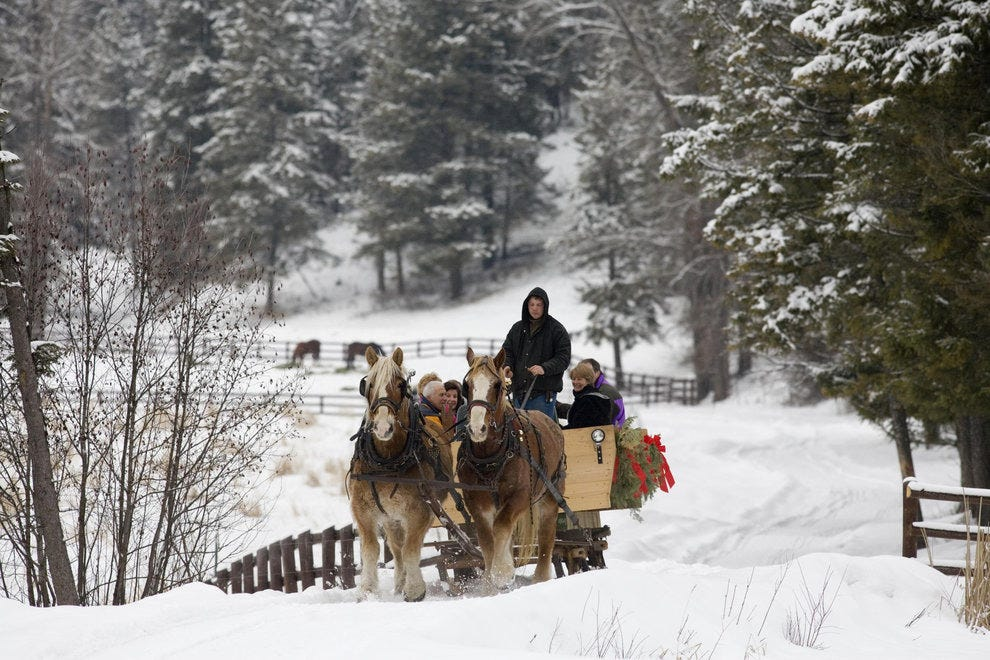 A sleigh ride with the ranch horses is fun for all ages