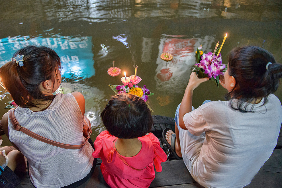 Getting ready to float at Loy Krathong