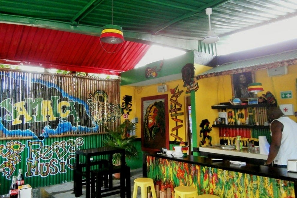 Mr. Jerk Cancun Grill's interior is colorful and very Jamaican