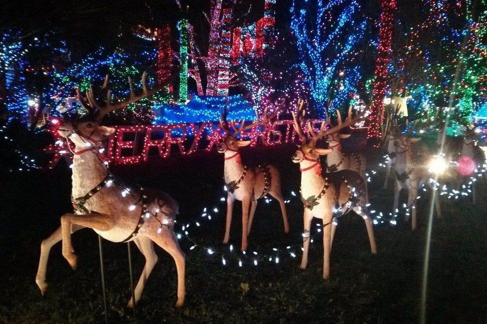 明亮的夜晚圣诞火车和斯坦利公园火车广场