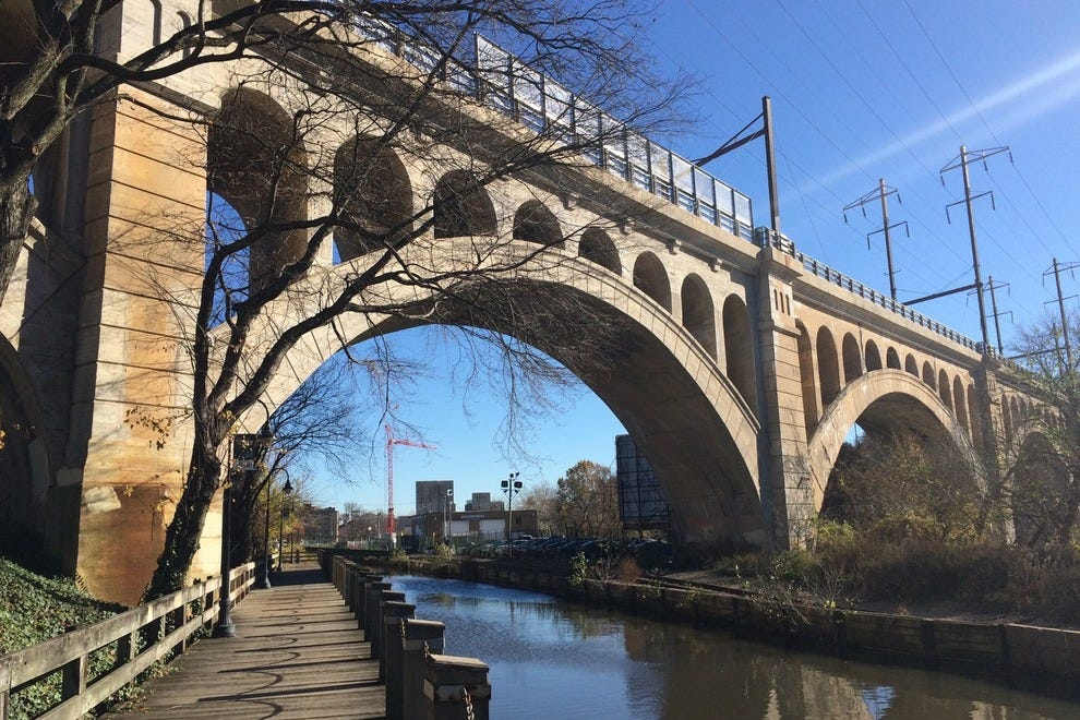 The majestic Manayunk Bridge in Philadelphia beckons folks to revisit the structure and see its new life as a recreational wonder