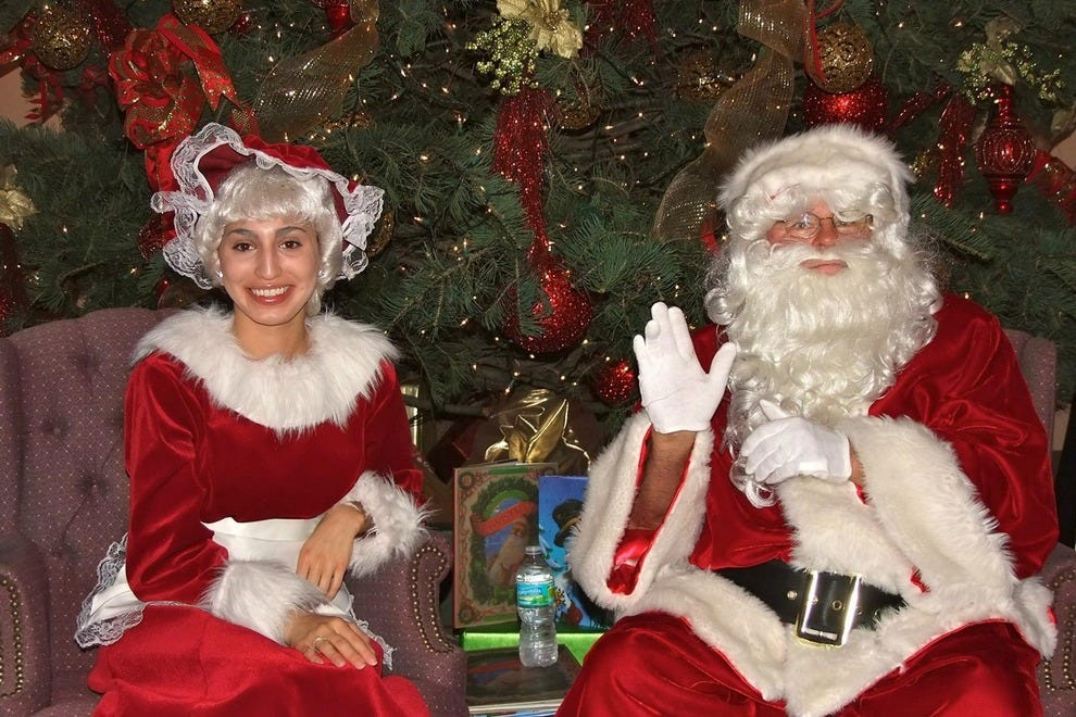 Kids will love sitting with Santa and Mrs. Claus for stories and photos