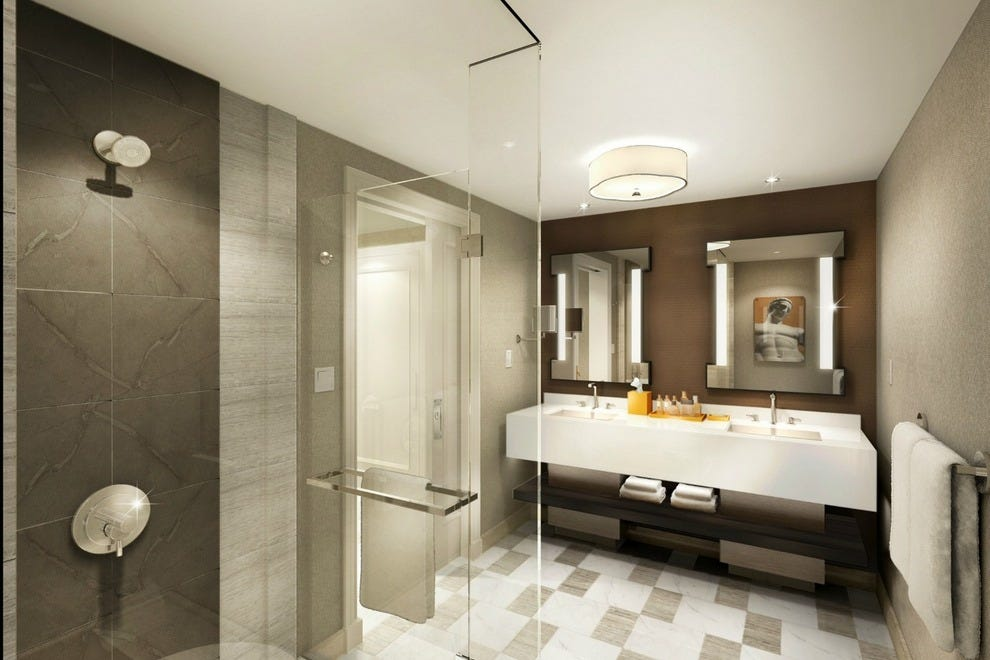 A rendering of the bathrooms in the new Julius Tower