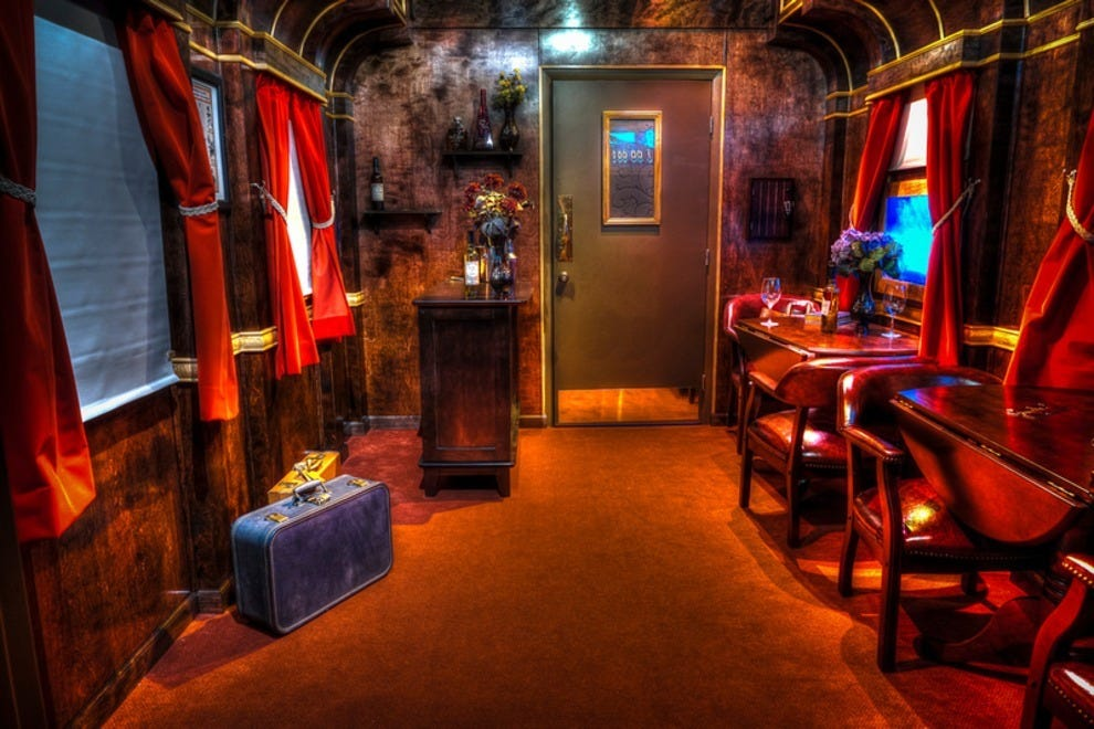 The Budapest Express escape room transports would-be detectives to a luxurious dining car