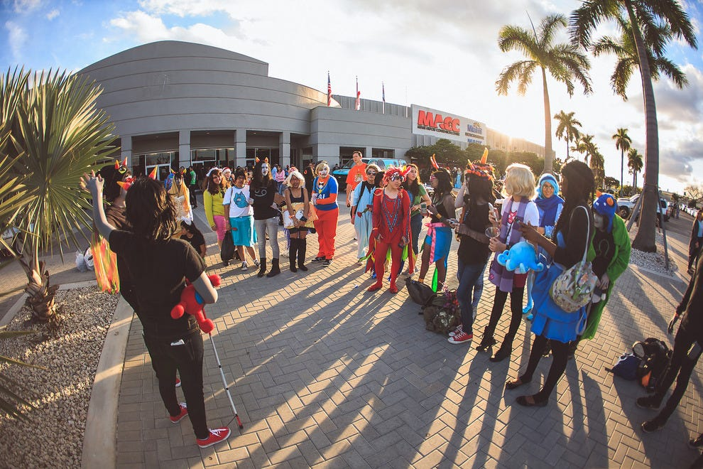 Cosplayers outside Magic City Comic Con