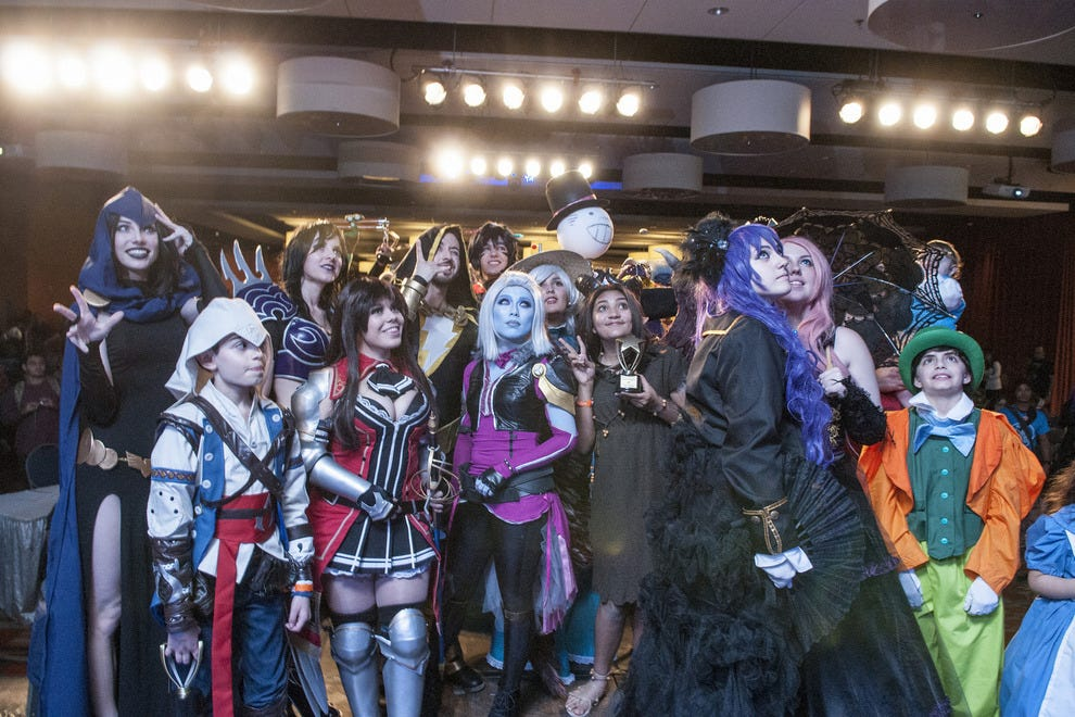 The winners of last year's cosplay competition strike a pose