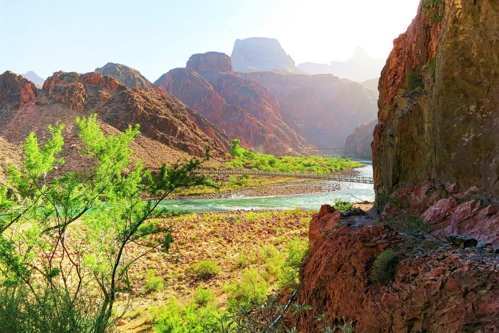 Early morning in the Grand Canyon, overlooking the Colorado River near Bright Angel trail.