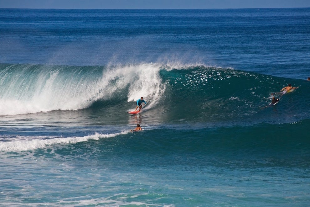 Surfing on the North Shore of Oahu
