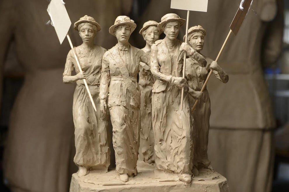 "Clay maquette of Alan LeQuire's ""Tennessee Woman Suffrage Monument"""
