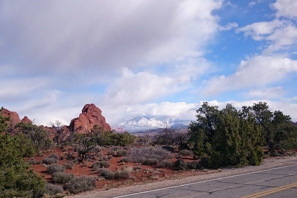 Though this shot was taken from the road, there are numerous places in Arches for views of the La Sal Mountains.