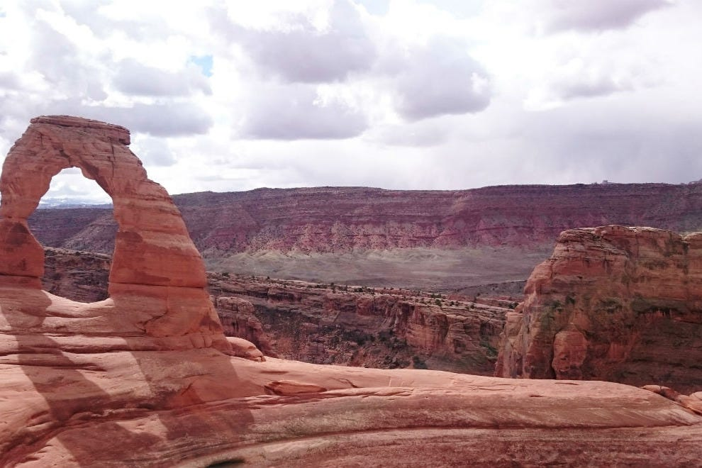 A view from a ledge: the author's first photo of Delicate Arch.