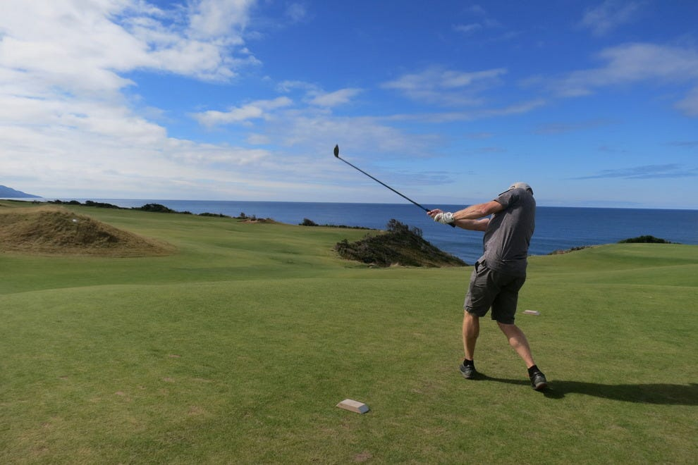 A perfect tee shot on Hole 2 @Cabot Cliffs, Nova Scotia