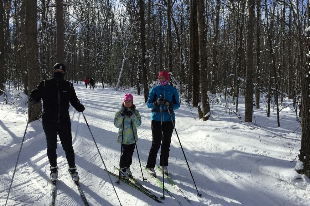 Skiers enjoy the slopes at Cross Country Ski Headquarters